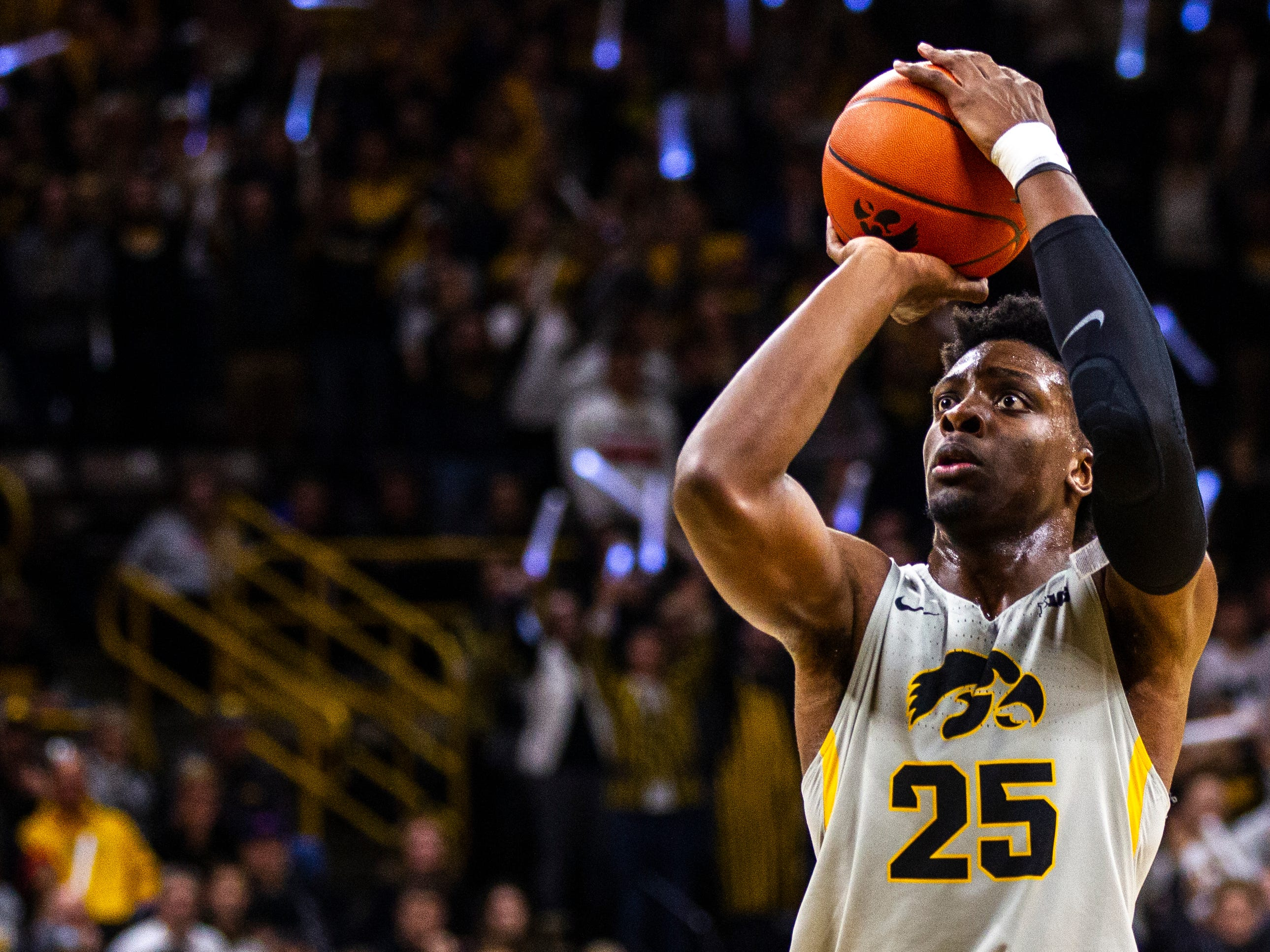 Iowa forward Tyler Cook (25) shoots a free-throw during a NCAA Big Ten Conference men's basketball game on Thursday, Jan. 24, 2019, at Carver-Hawkeye Arena in Iowa City, Iowa.