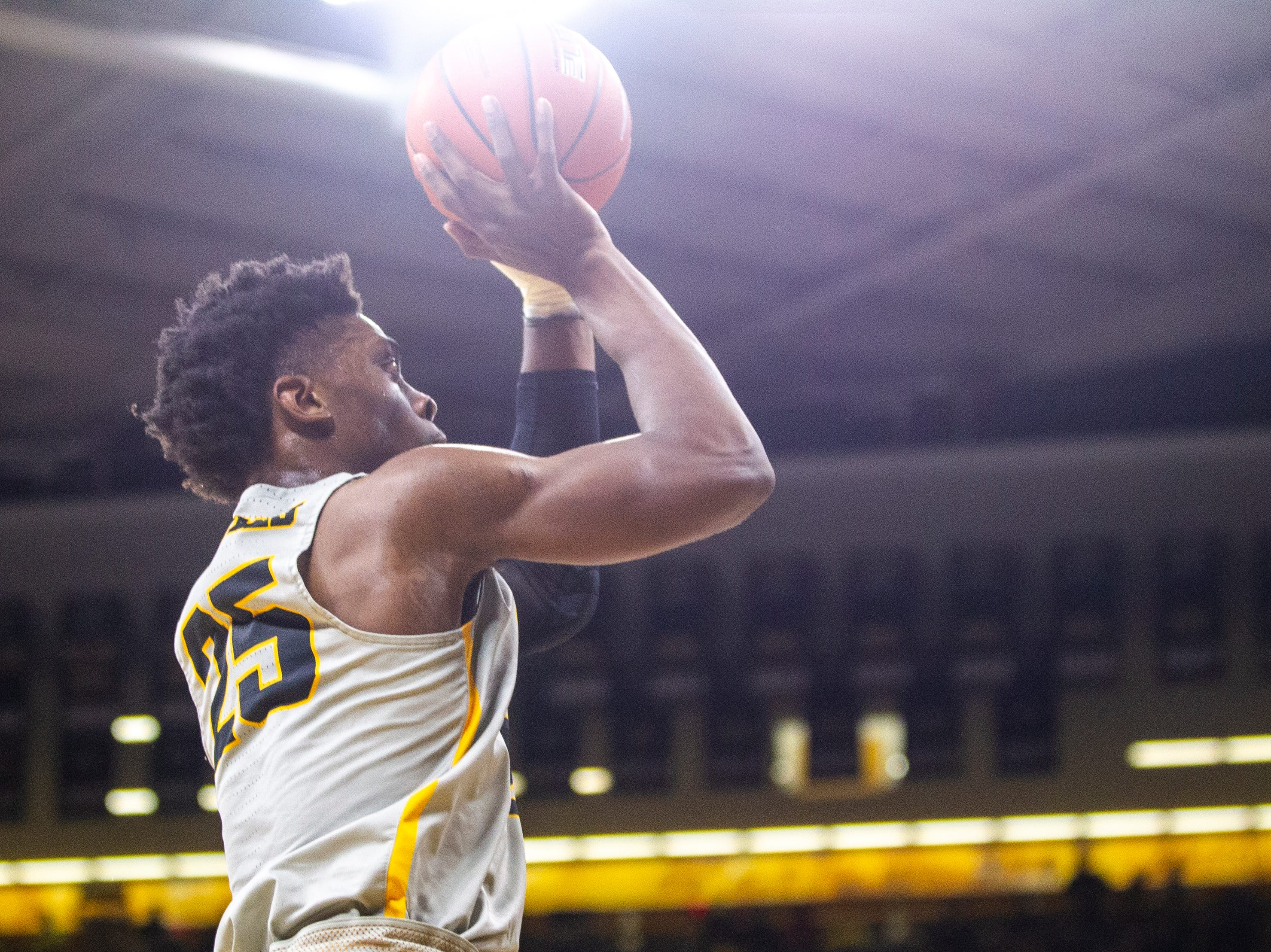 Iowa forward Tyler Cook (25) shoots a basket during a NCAA Big Ten Conference men's basketball game on Thursday, Jan. 24, 2019, at Carver-Hawkeye Arena in Iowa City, Iowa.