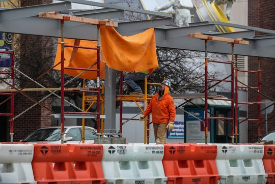 An IndyGo Red Line shelter is seen mid-construction in the middle of Meridian Street near the intersection with 30th Street in Indianapolis, Thursday, Jan. 24, 2019.