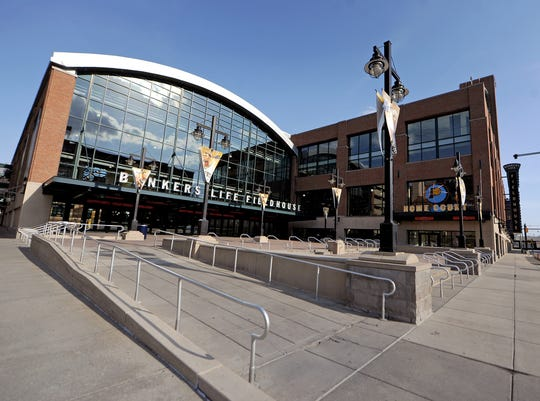 Bankers Life Fieldhouse, Thursday, April 10, 2014, in Indianapolis.