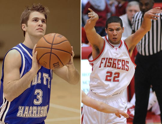 Fishers assistant coaches Blake Snodgrass (North Harrison, left) and Dakota Slaughter (right, Fishers) in their playing days.