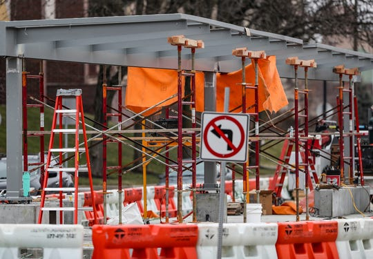 An IndyGo Red Line shelter is seen mid-construction in the middle of Meridian Street near the intersection with 22nd Street in Indianapolis, on Jan. 24, 2019.