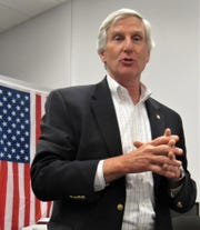 Farragut's County Commissioner John Schoonmaker, seen here at a speaking engagement last year at the KCSO substation.