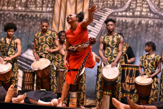 The Austin-East West African drummers and dancers perform a high-energy number for the crowd at Holston Middle School during a Black History Month celebration on January 23.