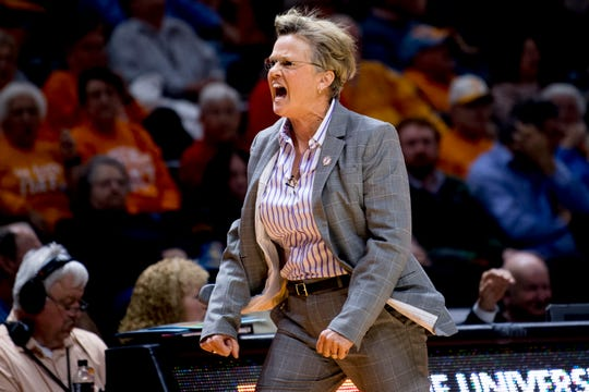 Tennessee Head Coach Holly Warlick reacts to a call against Tennessee during a game between Tennessee and Notre Dame at Thompson-Boling Arena in Knoxville, Tennessee on Thursday, January 24, 2019.