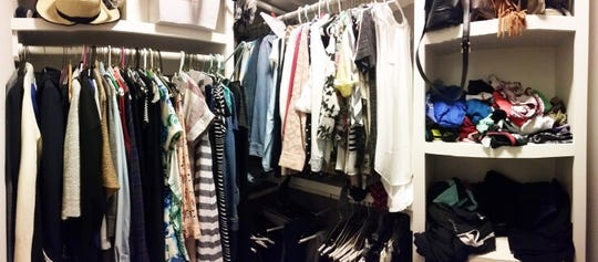 A photo of a client's closet prior to de-cluttering and reorganization by Monika Miller of Bower & Bird.