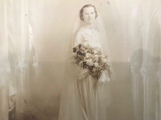 Mary Van Beke on her wedding day, August 29, 1936.