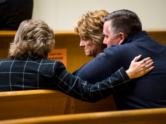 Pierce Corcoran's parents, Wendy Corcoran, center, and D.J. Corcoran, right, listen during a hearing for Francisco Eduardo Franco-Cambrany in Knox County Fourth Sessions Court on Friday, Jan. 25, 2019.