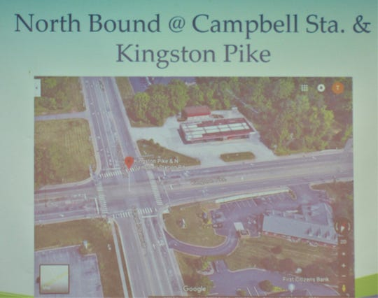 A diagram of the busy intersection of Kingston Pike and Campbell Road shows the location of a new traffic camera heading north.