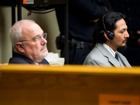 Francisco Eduardo Franco-Cambrany, right, listens with Knox County Public Defender Mark Stephens during his hearing in Knox County Fourth Sessions Court on Friday, Jan. 25, 2019.