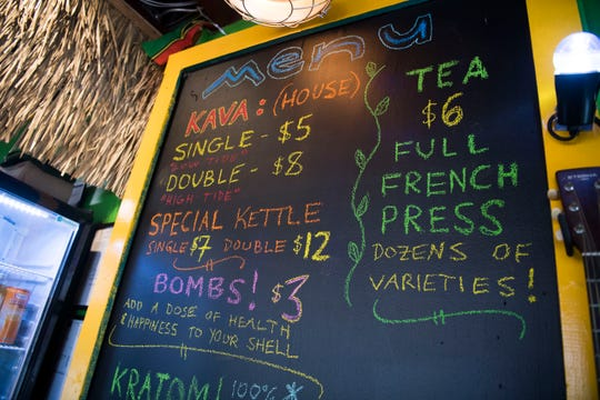A menu hangs at Noble Kava located on North Broadway. Friday, Jan. 25, 2019. The bar had it's grand opening Friday.