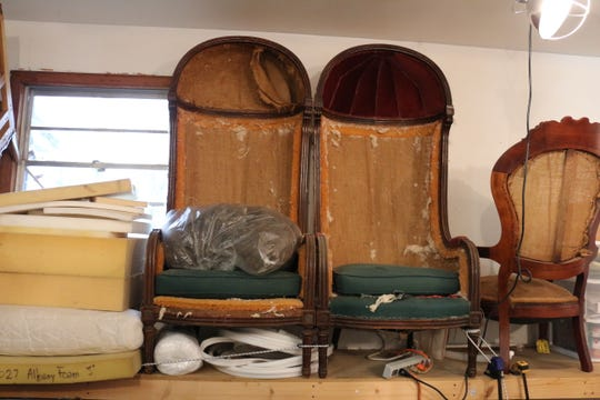 A pair of Porter chairs Fletcher acquired and plans to reupholster for her own home.