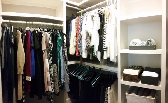 "An ""after"" shot of a customer's closet following the de-clutter and reorganization process from Monika Miller with Bower & Bird."
