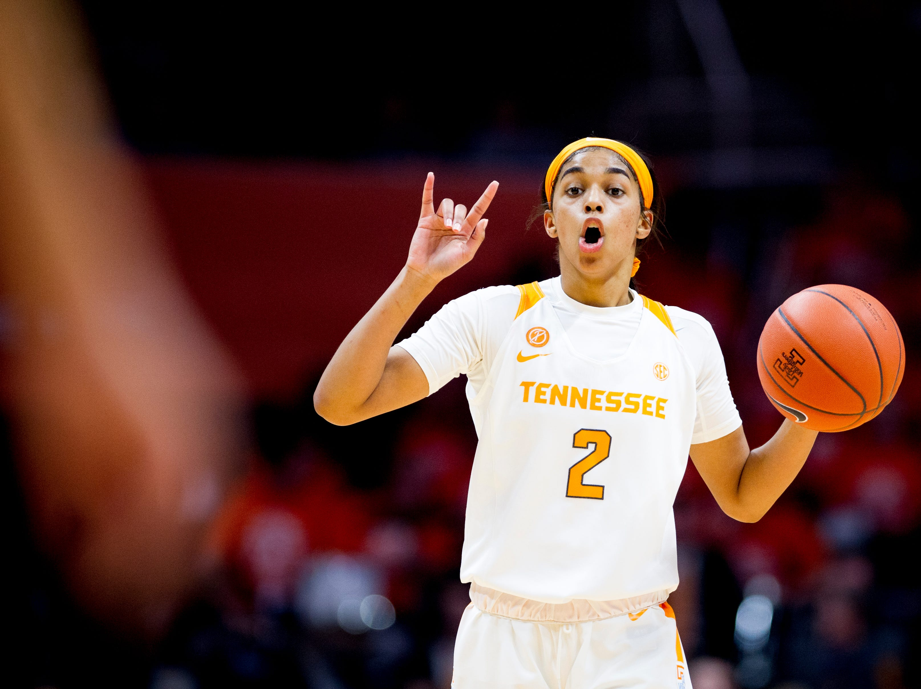Tennessee guard Evina Westbrook (2) calls down the court during a game between Tennessee and Notre Dame at Thompson-Boling Arena in Knoxville, Tennessee on Thursday, January 24, 2019.