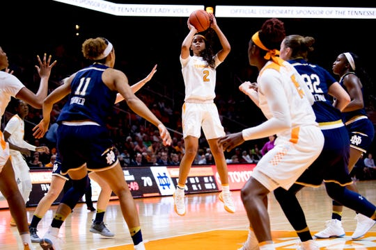 Tennessee guard Evina Westbrook (2) shoots the ball during a game between Tennessee and Notre Dame at Thompson-Boling Arena in Knoxville, Tennessee on Thursday, January 24, 2019.
