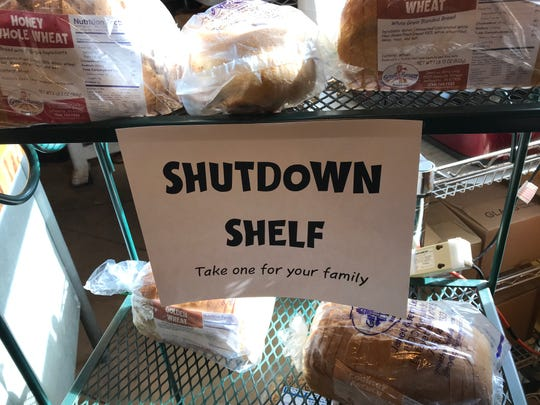 "Great Harvest Bread Co. put out a ""Shutdown Shelf,"" stocked with loaves of free bread for federal workers on furlough or working without paychecks since the start of a partial shutdown that started Dec. 22. The shelf went up a week ago at Great Harvest, 1500 Kossuth St."