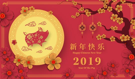 A Happy Chinese New Year 2019 year of the pig paper cut.