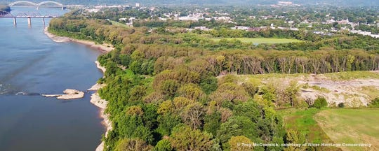 An aerial view of the 400-acre site for a  park planned by River Heritage Conservancy in Southern Indiana.