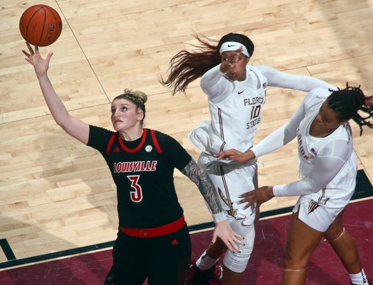 Louisville will need players like Sam Fuehring (3) to come down with rebounds against UConn.