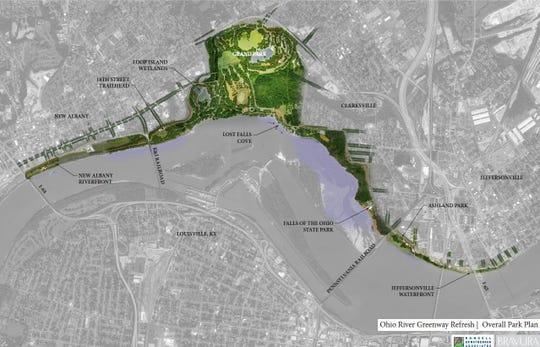 2014 renderings of green space in the area where a massive outdoor riverfront park in Indiana is planned.