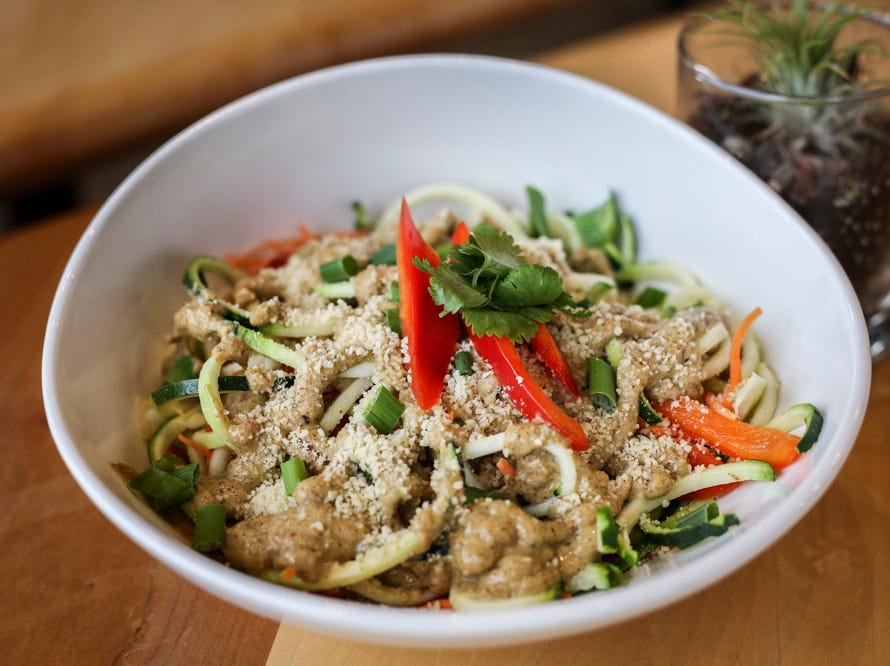 Raw Pad Thai, a chilled salad made with zucchini noodles and mixed vegetables topped with almond ginger Thai dressing, at V-Grits,  southern-style vegan comfort food, at 1025 Barret Ave in Louisville, Ky. on Thursday, January 24, 2019.