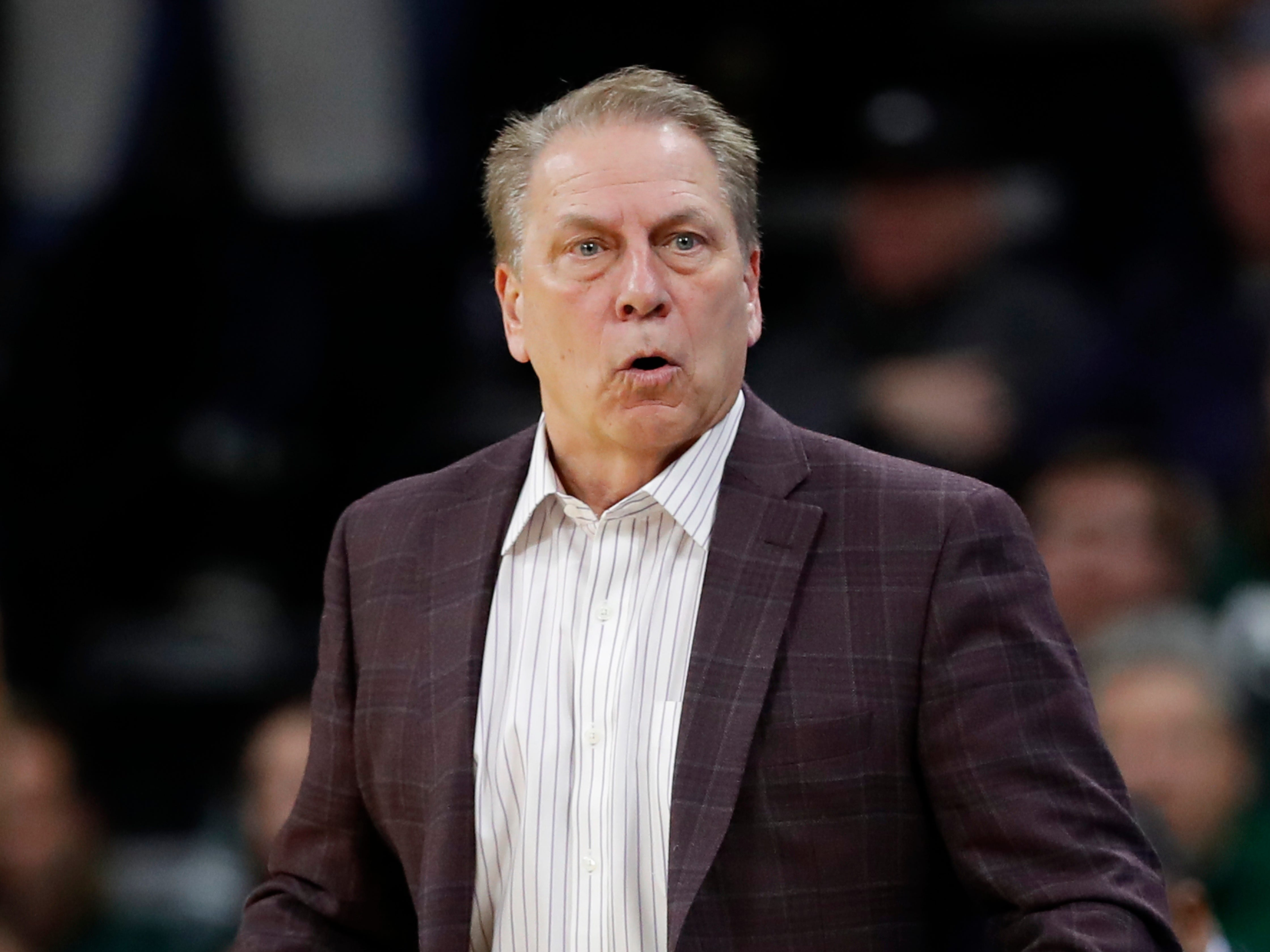 Michigan State coach Tom Izzo reacts to a call against his team during the first half of an NCAA college basketball game against Iowa, Thursday, Jan. 24, 2019, in Iowa City, Iowa.