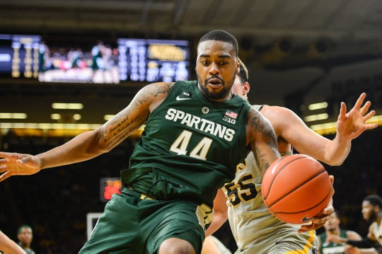 Michigan State Spartans forward Nick Ward (44) controls the ball during the second half against the Iowa Hawkeyes at Carver-Hawkeye Arena.
