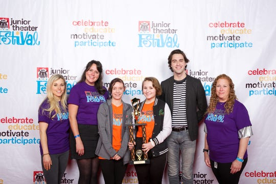 """Treehouse Theater at the 2019 Junior Theater Festival Atlanta:Freddie G Outstanding Music Award winners are, from left,songwriting team Elyssa Samsel and Kate Anderson (""""Between the Lines""""), Treehouse Theater's Allyson Stekes and Emily Schaffer, actor Ryan McCartan (""""Wicked,"""" """"Head Over Heels"""")and New York Times bestselling author Jodi Picoult."""