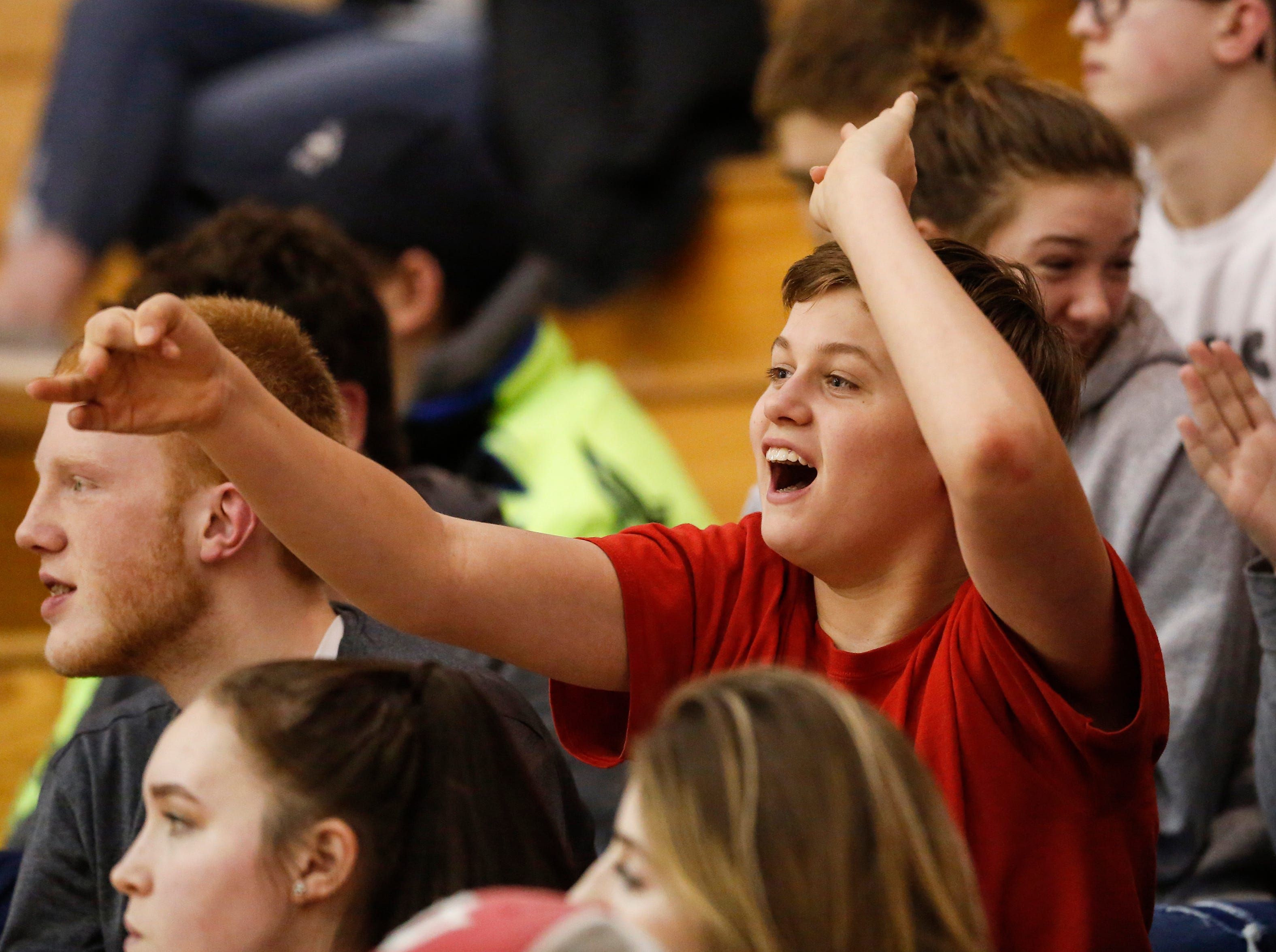Valders' student section cheers on their Vikings against Two Rivers at Valders High School Thursday, January 24, 2019, in Valders, Wis. Joshua Clark/USA TODAY NETWORK-Wisconsin