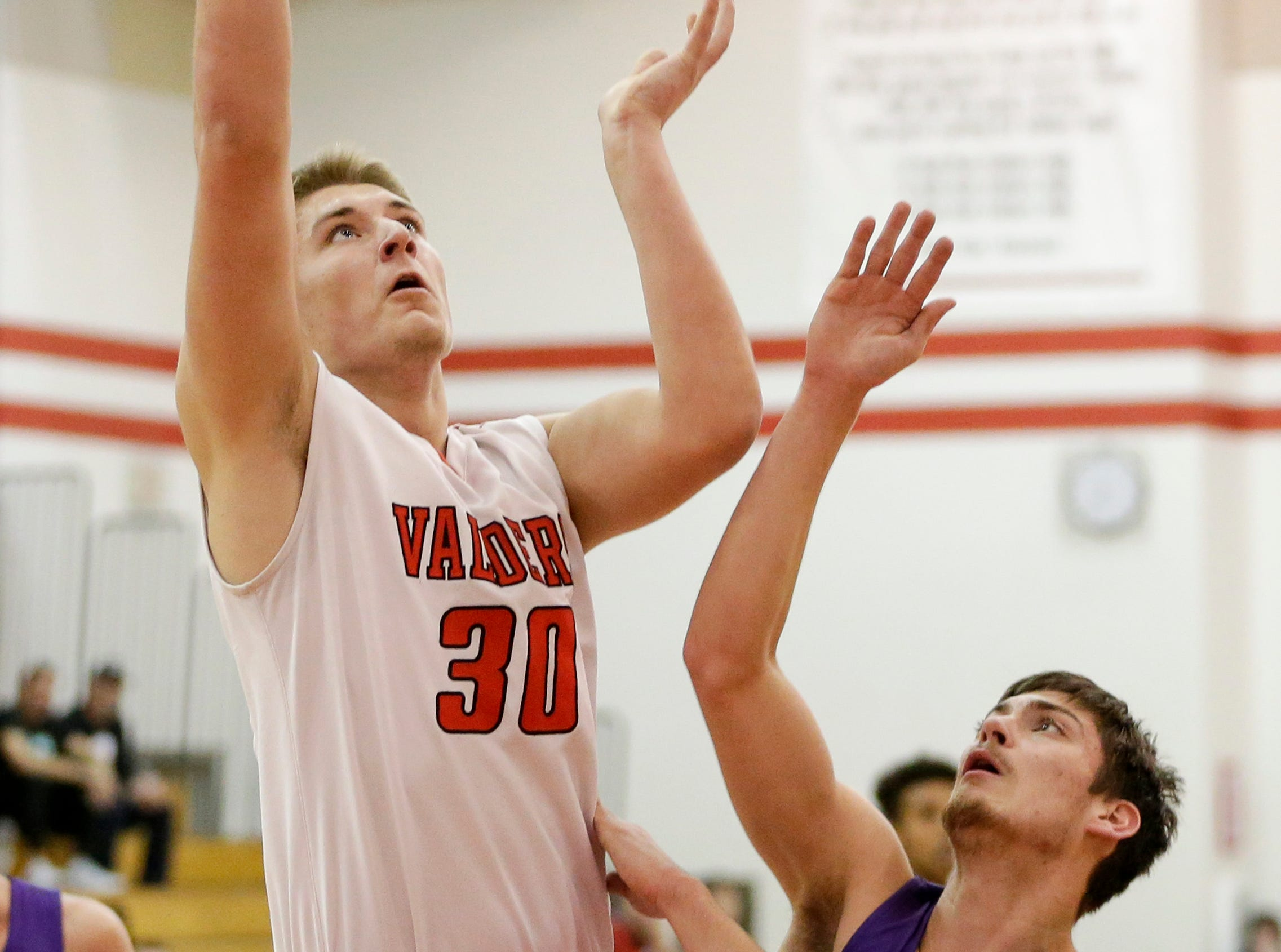 Valders' Zack Weyker (30) shoots against Two Rivers at Valders High School Thursday, January 24, 2019, in Valders, Wis. Joshua Clark/USA TODAY NETWORK-Wisconsin