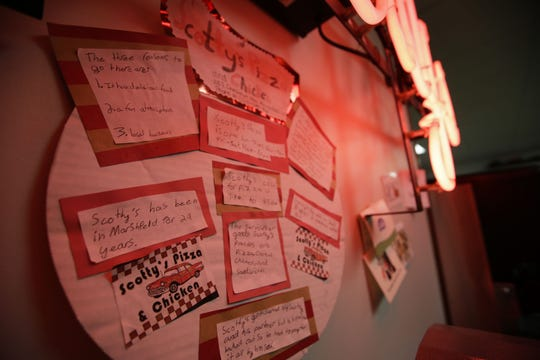 A child's school project is displayed on Saturday, December 29, 2018, at Scotty's Pizza in Marshfield, Wis.