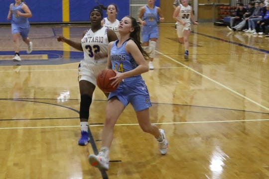 River Valley's Taylor Hecker drives in for a layup during the Lady Vikings' victory over Ontario on Thursday night at Ontario High School.