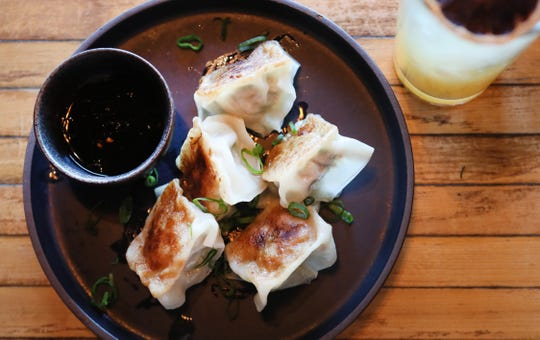 Pork dumplings at Lucky Cat, a ramen shop on Broad Avenue which officially opened its door to the public on Friday, Jan. 25, 2019.