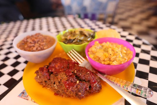 Meatloaf with black-eyed peas, corn and cabbage at Alcenia's, a soul food restaurant in downtown Memphis.