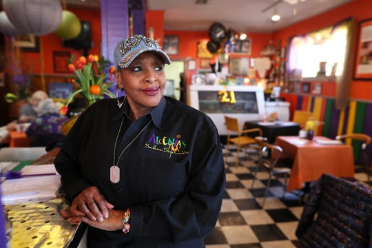 BJ Chester-Tamayo, owner of Alcenia's, a soul-food restaurant in downtown Memphis on Friday, Jan. 25, 2019.