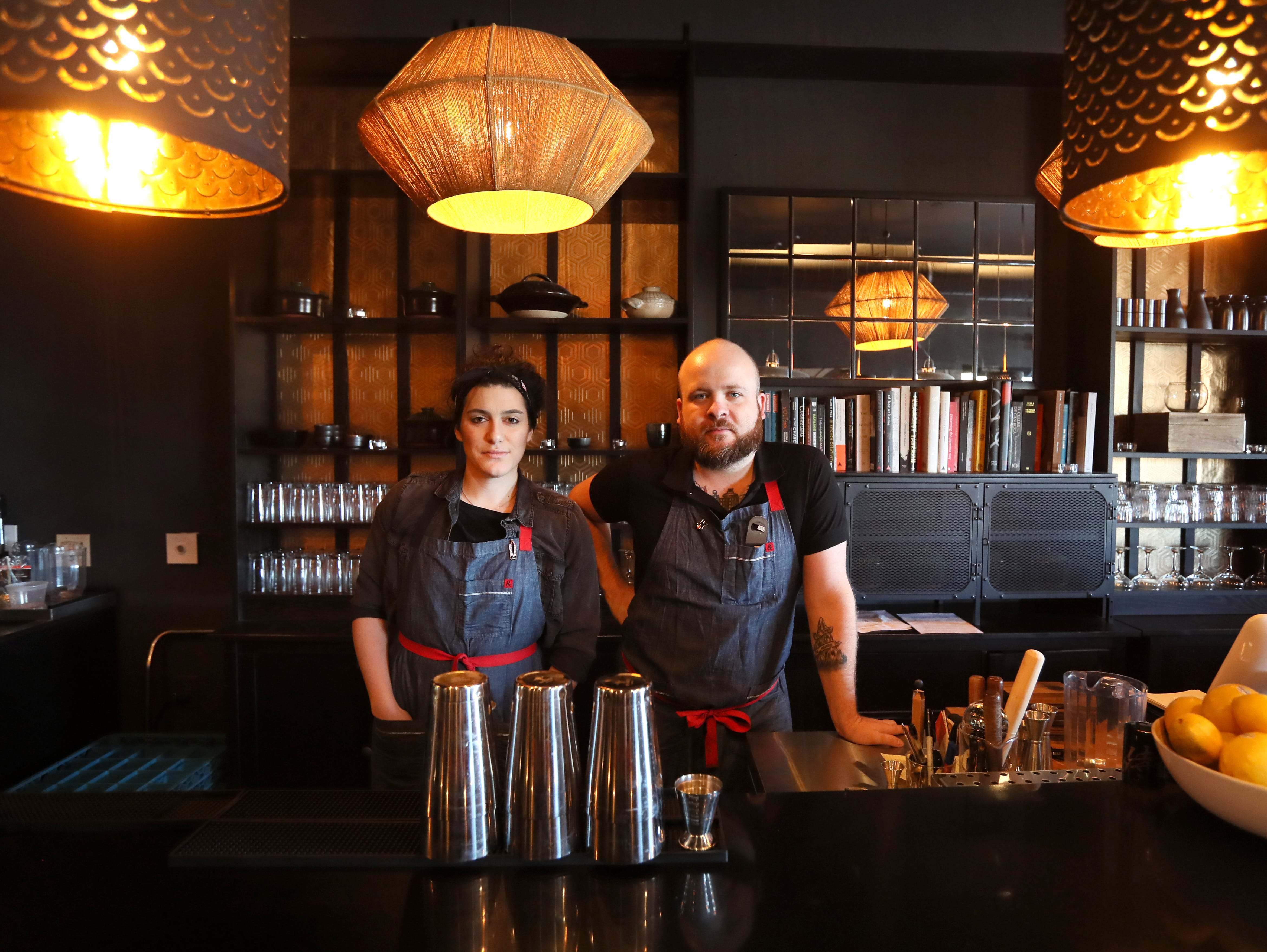 Bar Manager Paul Gilliam and Bartender McKenzie Nelson at Lucky Cat, a ramen shop on Broad Avenue which officially opened its door to the public on Friday, Jan. 25, 2019.