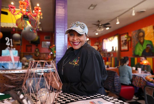 """B.J. Chester-Tamayo has been serving up soul food at Alcenia's in Downtown Memphis for more than two decades. """"Today soul food still represents a way to feed the heart and soul, not just for African-Americans but for all ethnicities,"""" she said."""