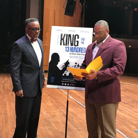 "Ike Griffith, left, and Albert Lamar discuss ""King and the 13 Hundred,"" a play being performed Saturday at the Cannon Center. Griffith is director of the Office of Youth Services, and Lamar is director of solid waste management."