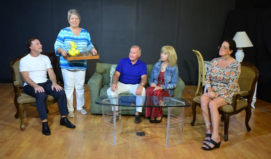 "The cast of ""Spreading It Around"" from left, Andrew Ciliberto as Martin Wheeler, Bonnie Knapp as Angie Drayton, Alex Costello as Larry Drayton, Rhonda Davis as Traci Drayton and Christi Lueck-Sadiq as Dr. Krapinsky."