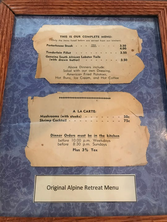 The original menu at Alpine Retreat featured just four dishes.