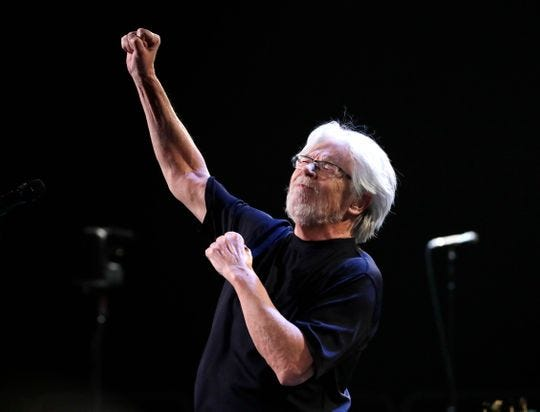 Bob Seger performs Jan. 24 at Fiserv Forum. The longtime rock star gave an enthusiastic performance on what could be his last show in the city.