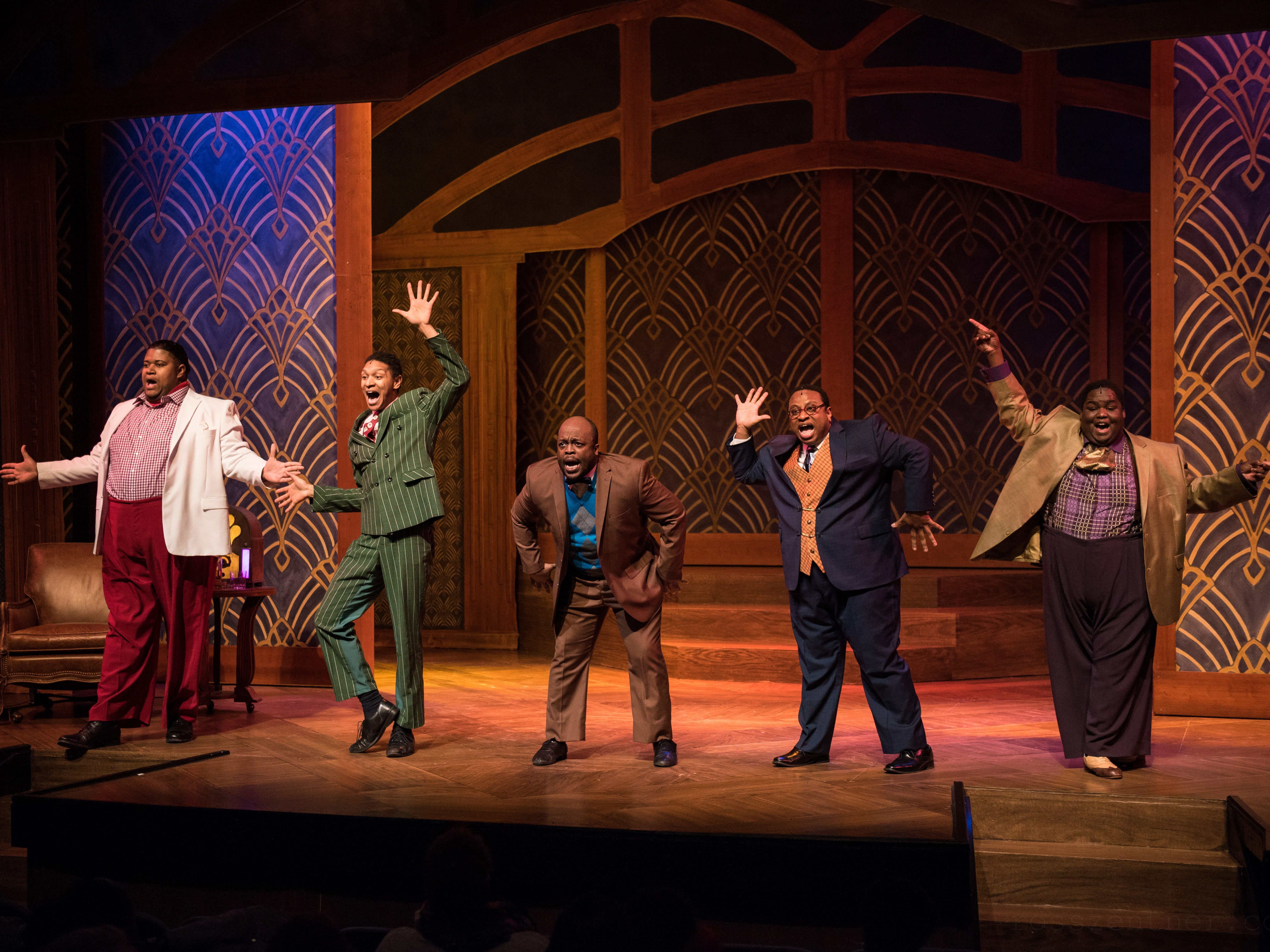 """It's Big Moe (Lorenzo Rush Jr., from left), Eat Moe (Sean Anthony Jackson), No Moe (Shawn Holmes), Four-Eyed Moe (James Carrington) and Little Moe (Kevin James Sievert), in a scene from Skylight Music Theatre's production of """"Five Guys Named Moe."""""""