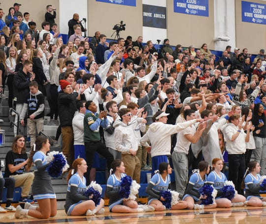 Brookfield Central students cheer a basket at the end of the first half. in a boys basketball game Thursday, January 24, 2019, at Brookfield Central High School.