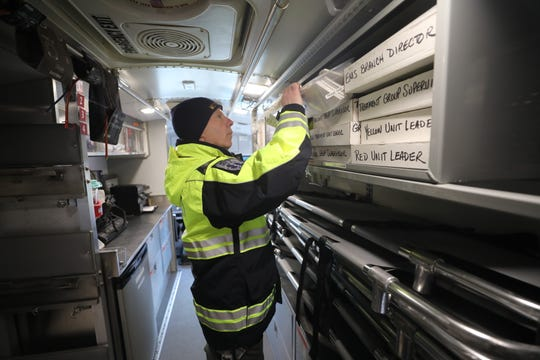 Morris County Director for the Office of Emergency Management, Jeff Paul on the Morris County OEM's Mobile Ambulance Bus that transported 17 patients from an accident on Route 80 to Morristown Medical Center in January. Jan. 25, 2019.