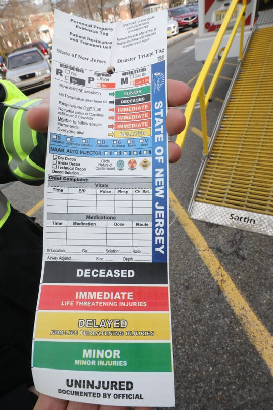 This is a triage tag that designates the status of each patient that was put on the Morris County Office of Emergency Management's Mobile Ambulance Bus that transported 17 patients from an accident on Route 80 to Morristown Medical Center last night. This photo was taken on January 25, 2019 outside the Morristown Medical Center.