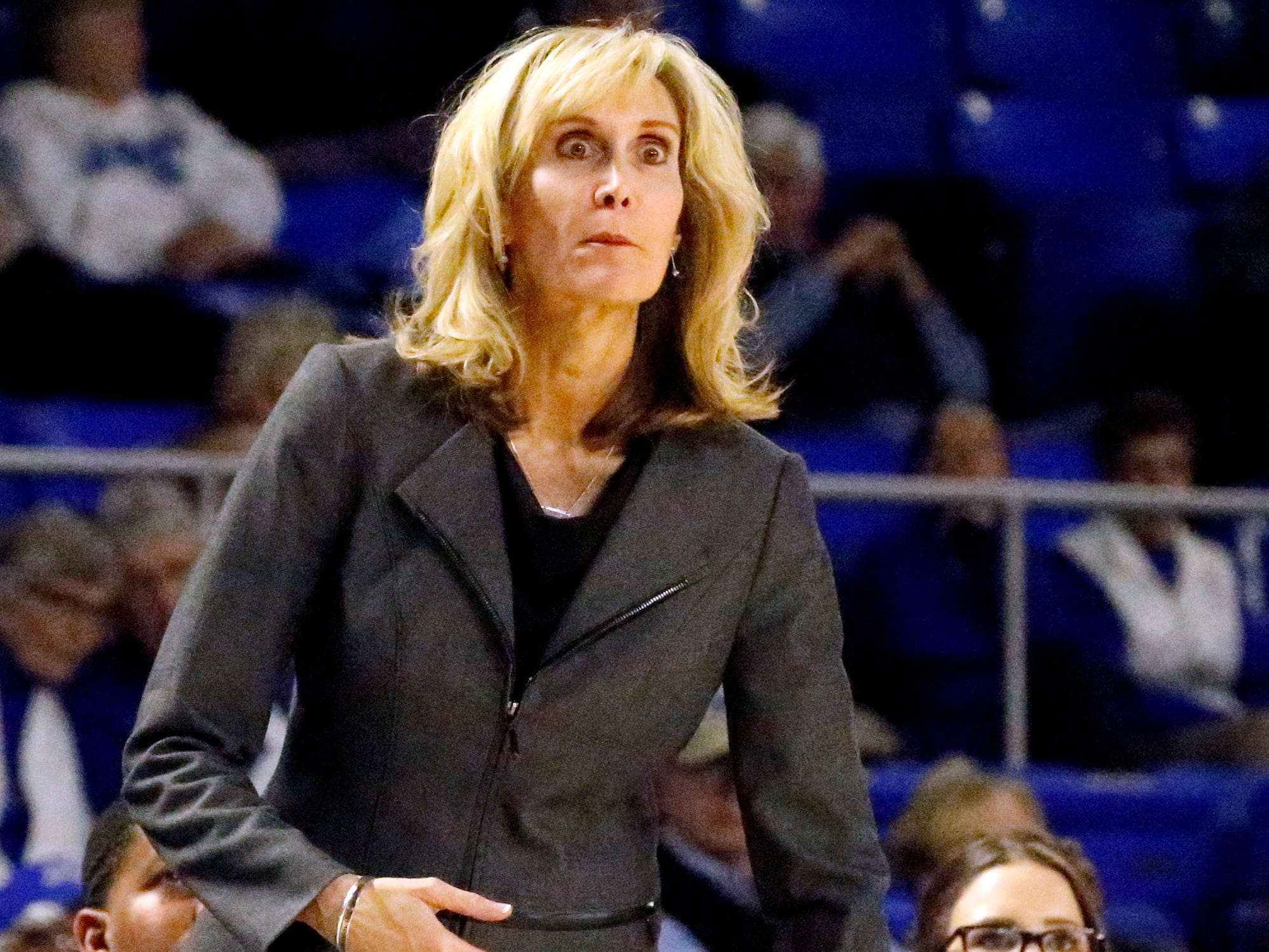 Rice's head coach Tina Langley on the sidelines during the game against MTSU on Thursday Jan. 24, 2019.