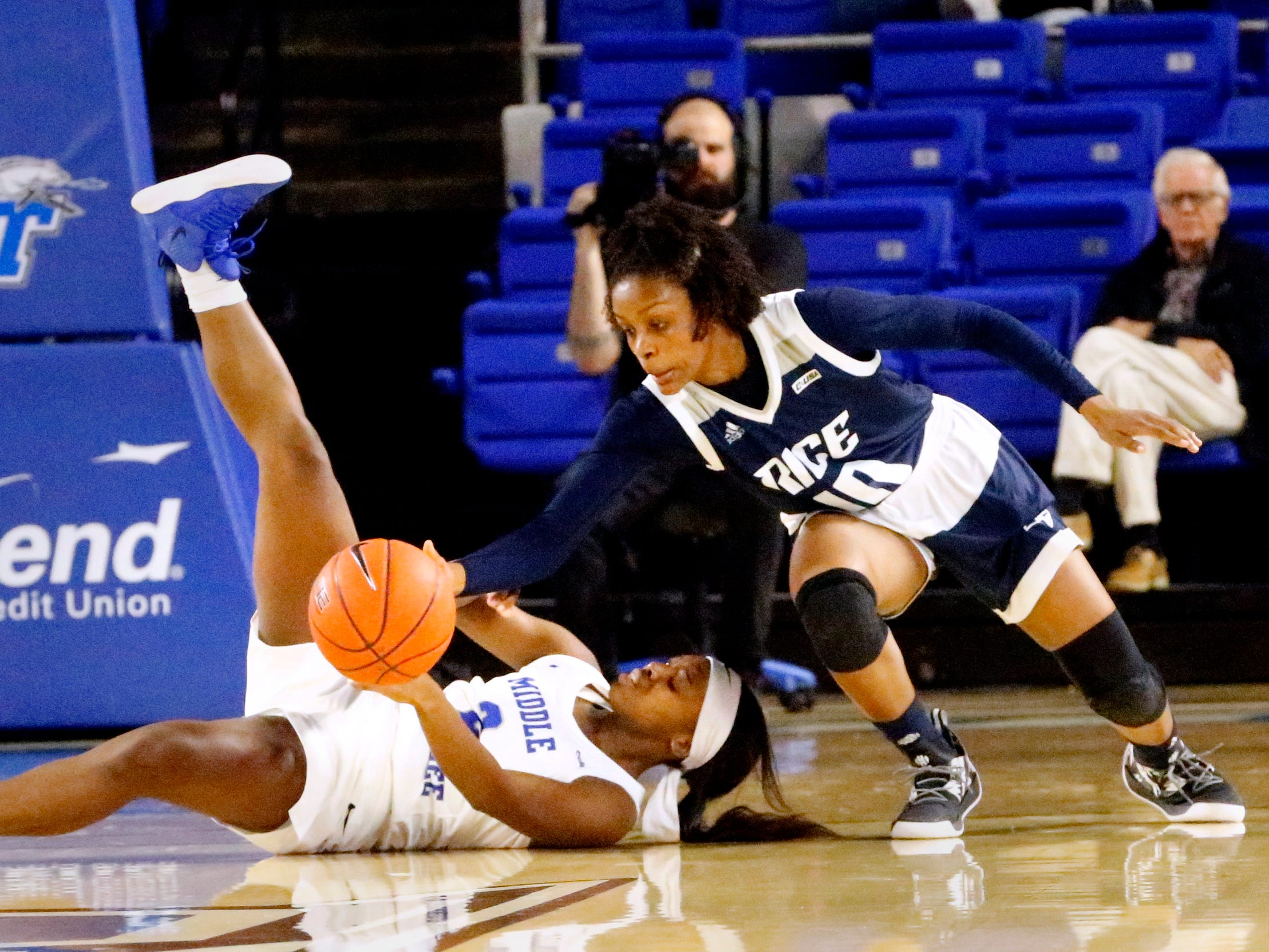 MTSU's guard Taylor Sutton (2) tries to keep control of the ball after fallign to the ground as Rice's guard Jasmine Smith (10) goes after the ball on Thursday Jan. 24, 2019.
