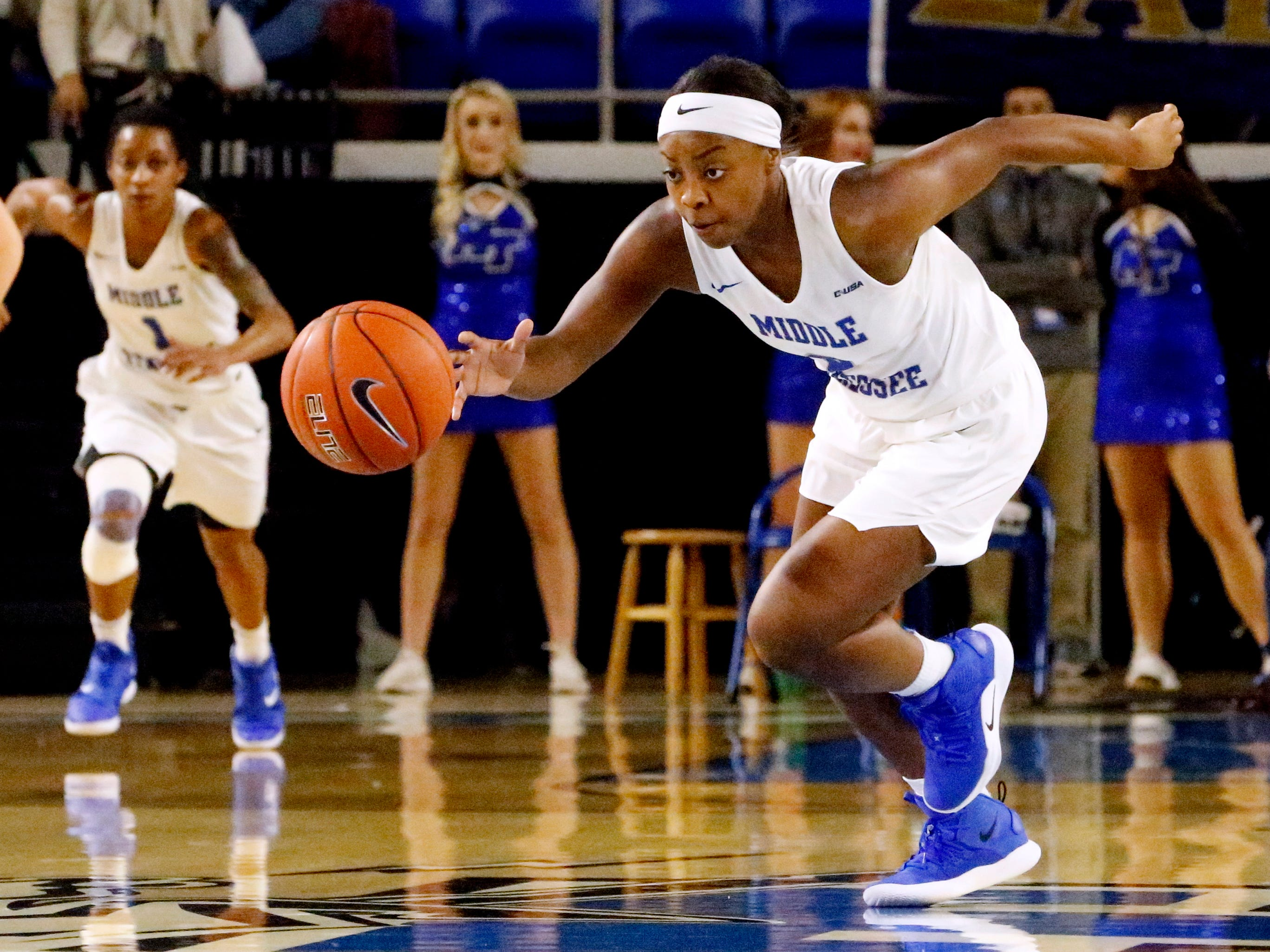 MTSU's guard Taylor Sutton (2) drives the ball down the court after stealing the ball away on Thursday Jan. 24, 2019.