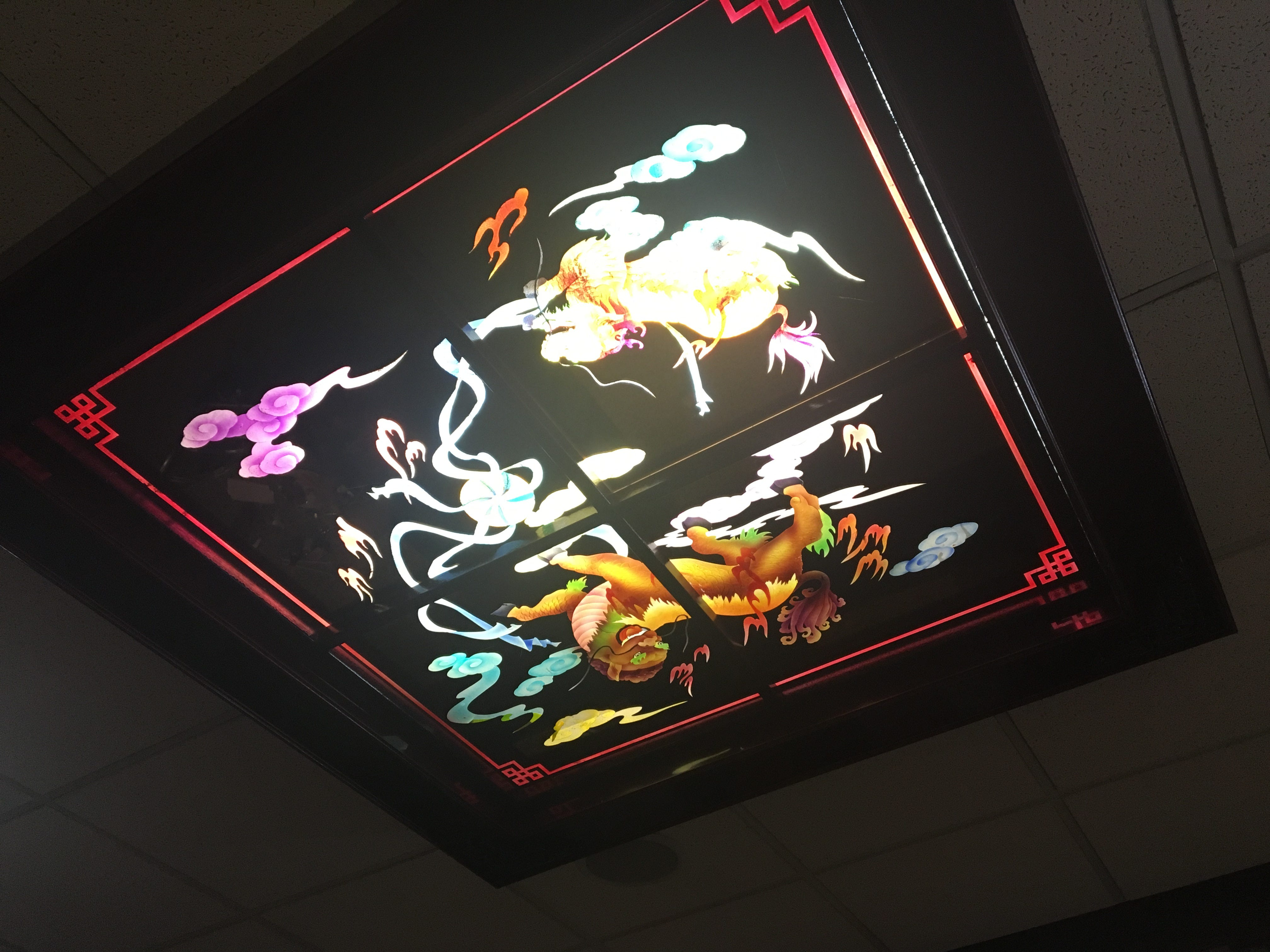 Traditional Chinese imagery can be found in the decor at Yoki Buffet, including these lights.