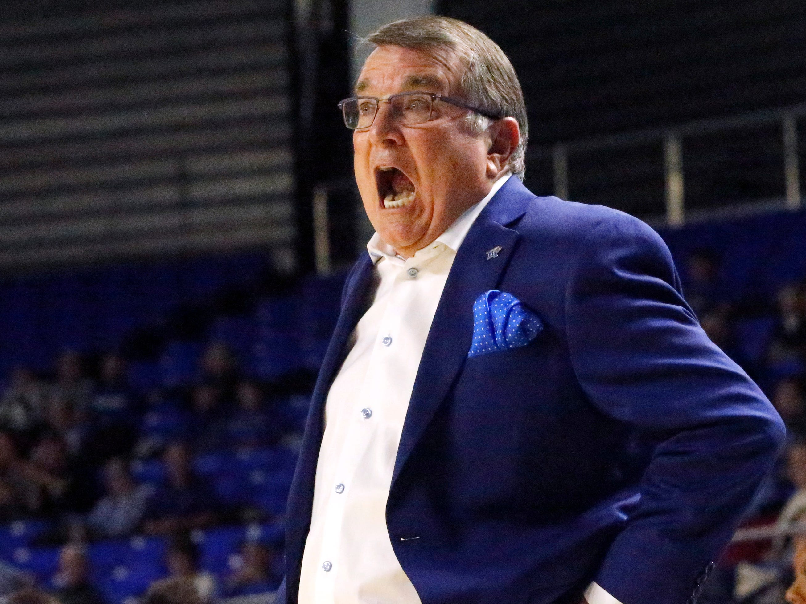 MTSU's head coach Rick Insell on the sidelines during the gam against Rice on Thursday Jan. 24, 2019.